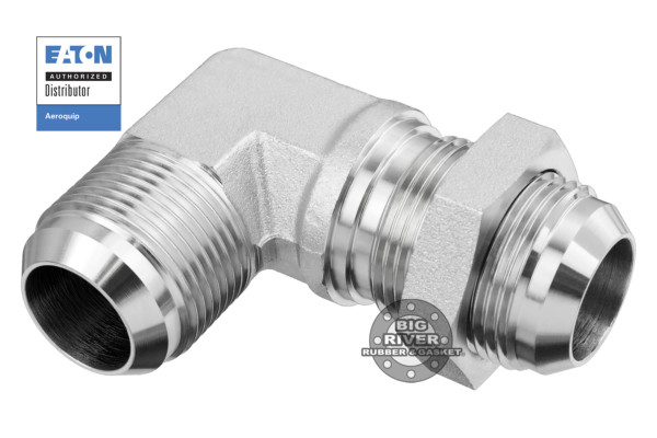 Eaton Aeroquip Male 37° (JIC) Flare Bulkhead to Male 37° (JIC) Flare 90° Elbow Union Adapter
