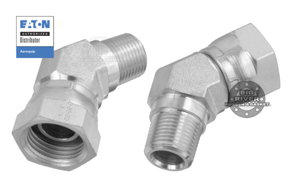 Eaton Aeroquip Female Internal Pipe Swivel to Male External Pipe NPTF/NPSM SAE 45° Elbow Adapter