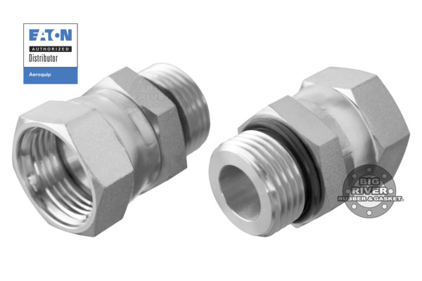 Eaton Aeroquip Male External SAE O-Ring Boss (ORB) to Female Internal SAE 37° (JIC) Flare Swivel Straight Adapter